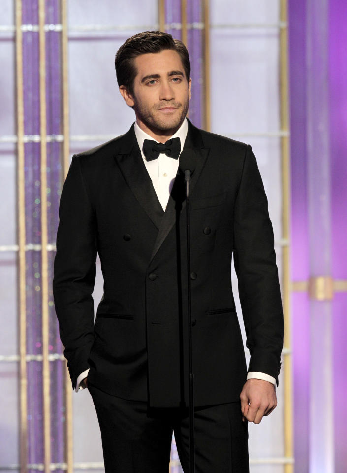 BEVERLY HILLS, CA - JANUARY 15: In this handout photo provided by NBC, actor Jake Gyllenhaal presents an award onstage during the 69th Annual Golden Globe Awards at the Beverly Hilton International Ballroom on January 15, 2012 in Beverly Hills, California. (Photo by Paul Drinkwater/NBC via Getty Images)