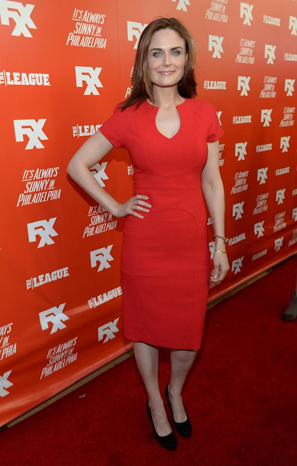 "HOLLYWOOD, CA - SEPTEMBER 03: Actress Emily Deschanel attends the premiere and launch party for FXX Network's ""It's Always Sunny In Philadelphia"" and ""The League"" at Lure on September 3, 2013 in Hollywood, California. (Photo by Michael Buckner/Getty Images)"