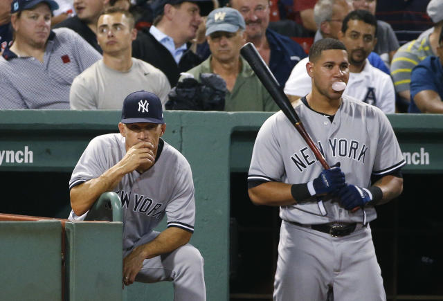 "<a class=""link rapid-noclick-resp"" href=""/mlb/teams/nyy/"" data-ylk=""slk:New York Yankees"">New York Yankees</a> manager Joe Girardi sent some mixed signals to his catcher Gary Sanchez. (AP Photo)"