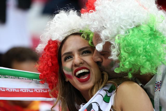 <p>Football fans supporting Iran at Kazan Arena before the kick off of a First Stage Group B football match between Iran and Spain at FIFA World Cup Russia 2018. Yegor Aleyev/TASS (Photo by Yegor Aleyev\TASS via Getty Images) </p>