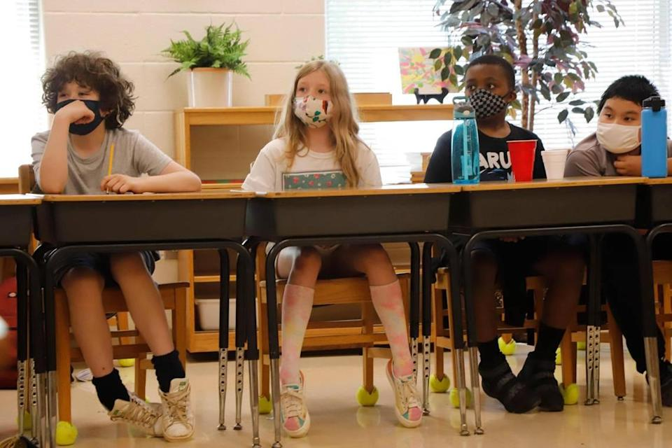 Fifth grade students in class during Camp CMS at Highland Mill Montessori on Wednesday, June 23, 2021 in Charlotte.