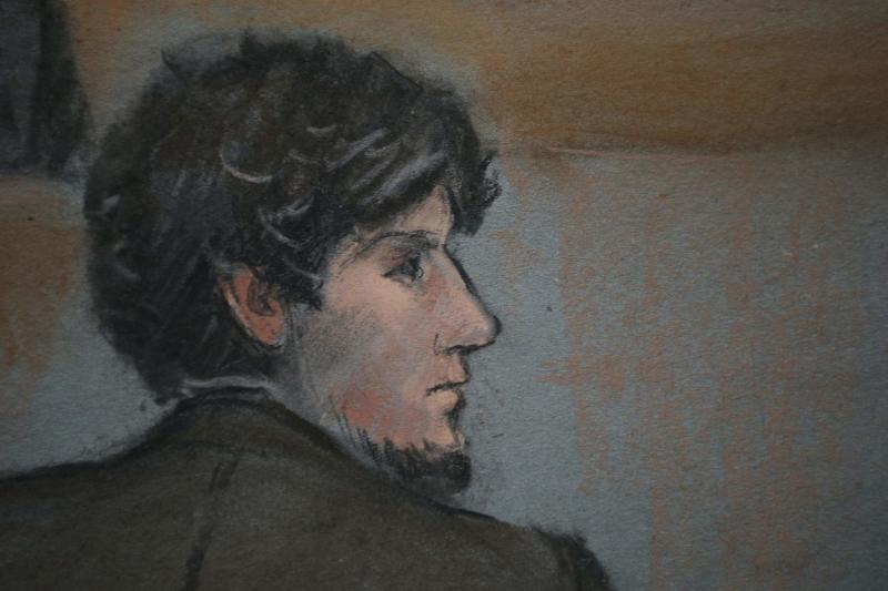 A courtroom sketch shows accused Boston Marathon bomber Dzhokhar Tsarnaev in court on the second day of his trial at the federal courthouse in Boston, Massachusetts March 5, 2015. Tsarnaev, 21, has admitted through his attorneys that he and his older brother carried out the April 15, 2013, bombing that killed three people and injured 264. REUTERS/Jane Flavell Collins    (UNITED STATES - Tags: CRIME LAW)  ATTENTION EDITORS - NO SALES. NO ARCHIVES. FOR EDITORIAL USE ONLY. NOT FOR SALE FOR MARKETING OR ADVERTISING CAMPAIGNS. THIS IMAGE HAS BEEN SUPPLIED BY A THIRD PARTY. IT IS DISTRIBUTED, EXACTLY AS RECEIVED BY REUTERS, AS A SERVICE TO CLIENTS