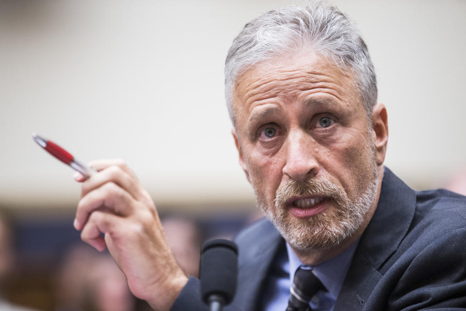 """Former """"Daily Show"""" host Jon Stewart testifies during a House Judiciary Committee hearing on reauthorization of the September 11th Victim Compensation Fund on June 11, 2019. (Photo: Zach Gibson/Getty Images)"""