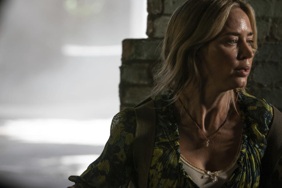 """This image released by Paramount Pictures shows Emily Blunt in a scene from """"A Quiet Place Part II."""" (Jonny Cournoyer/Paramount Pictures via AP)"""