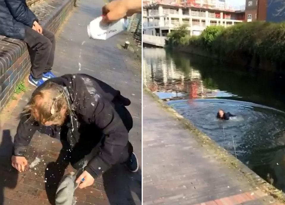 This is the sickening moment a pair of yobs laughed as they pushed a homeless man into a canal (Picture: SWNS)