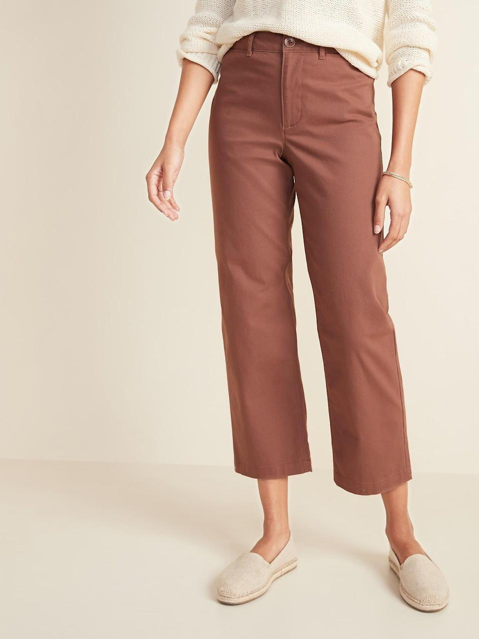 <p>You'll never tire of rocking these <span>Old Navy High-Waisted Slim Wide-Leg Chinos</span> ($17, originally $40).</p>
