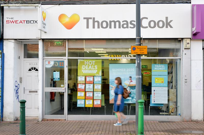 A closed Thomas Cook shop on East Street, Bedminster, Bristol, as the 178-year-old tour operator Thomas Cook which has ceased trading with immediate effect after failing in a final bid to secure a rescue package from creditors.