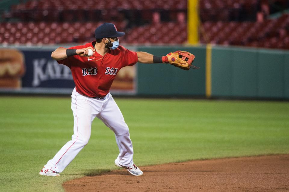 BOSTON, MA - JULY 21: Jose Peraza #3 of the Boston Red Sox fields a ball during the fourth inning against the Toronto Blue Jays at Fenway Park on July 21, 2020 in Boston, Massachusetts. (Photo by Kathryn Riley/Getty Images)