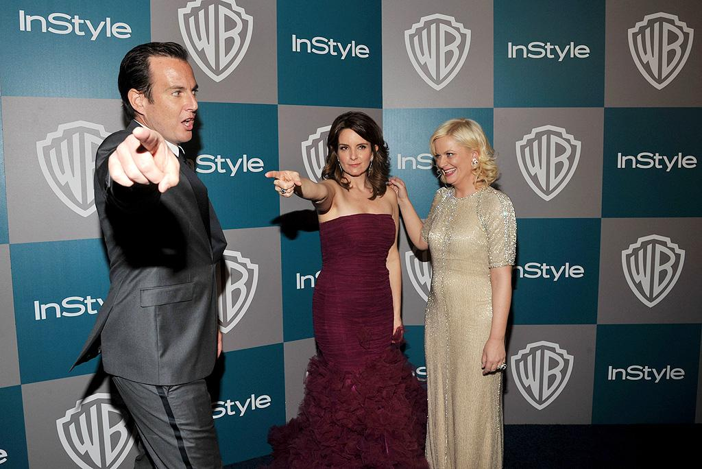 BEVERLY HILLS, CA - JANUARY 15:  (L-R) Actors Will Arnett, Tina Fey, and Amy Poehler arrive at the 13th Annual Warner Bros. and InStyle Golden Globe After Party held at The Beverly Hilton hotel on January 15, 2012 in Beverly Hills, California.  (Photo by Lester Cohen/WireImage)