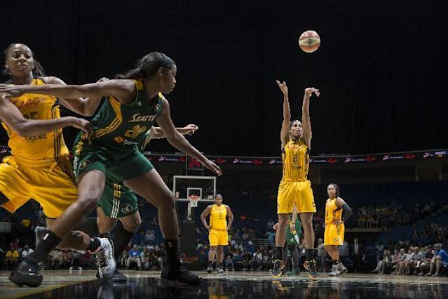 TULSA, OK - JUNE 15: Skylar Diggins #4 of the Tulsa Shock takes a free throw against the Seattle Storm during the WNBA game on June 15, 2014 at the BOK Center in Tulsa, Oklahoma. (Photo by Shane Bevel/NBAE via Getty Images)