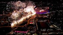The fireworks at the Olympic Opening Ceremony. (WENN.com)