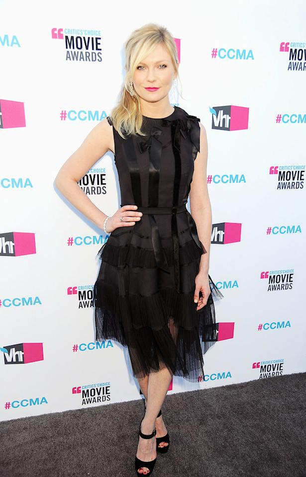 """<a href=""""http://movies.yahoo.com/movie/contributor/1800018860"""">Kirsten Dunst</a> at the 17th Annual Critics' Choice Awards in Hollywood on January 12, 2012."""