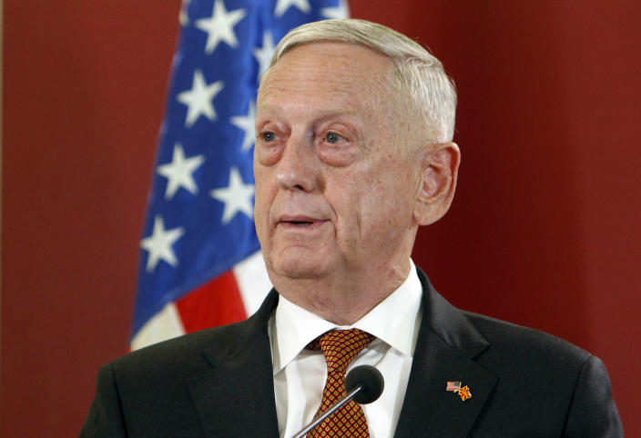 U.S. Defense Secretary James Mattis talks to the media in presence of Macedonian Prime Minister Zoran Zaev following their meeting at the government building in Skopje, Macedonia, Monday, Sept. 17, 2018. Mattis arrived in Macedonia Monday, condemning Russian efforts to use its money and influence to build opposition to an upcoming vote that could pave the way for the country to join NATO, a move Moscow opposes. (AP Photo/Boris Grdanoski)