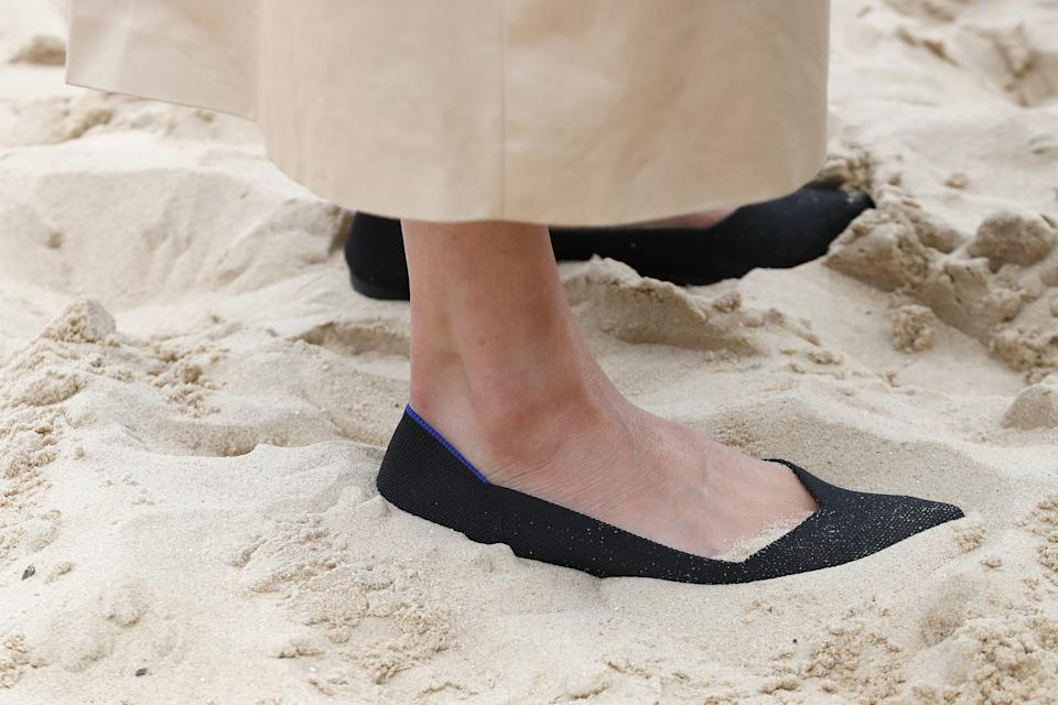 Meghan also wore the Black Point shoes by Rothy's at South Melbourne Beach [Photo: Getty Images]