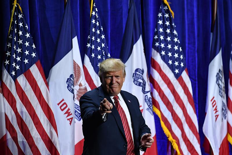US President Donald Trump arrives to speak during the Republican Party of Iowa Annual Dinner at The Ron Pearson Center in West Des Moines, Iowa on June 11, 2019. (Photo by MANDEL NGAN / AFP) (Photo credit should read MANDEL NGAN/AFP/Getty Images)