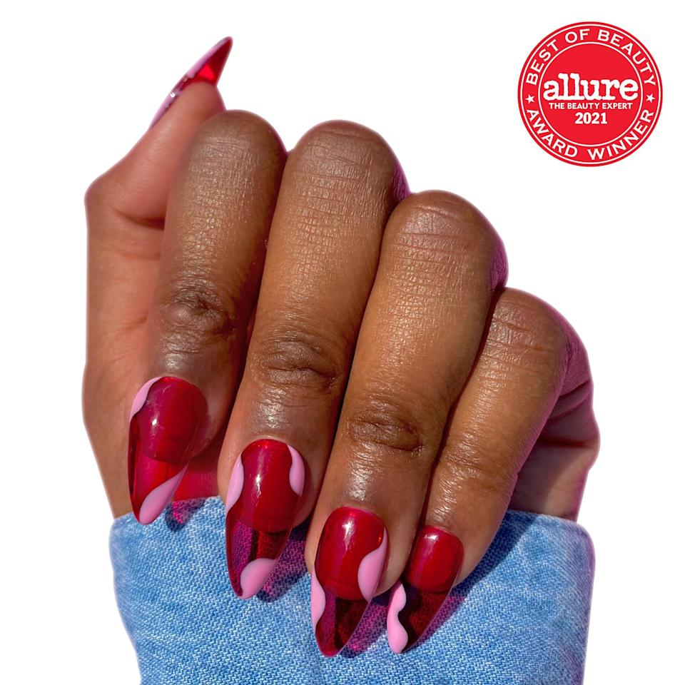 """Each <strong>Crowned and Polished nail kit</strong> mimics <a href=""""https://www.allure.com/story/how-to-remove-acrylic-nails?mbid=synd_yahoo_rss"""" rel=""""nofollow noopener"""" target=""""_blank"""" data-ylk=""""slk:salon acrylics"""" class=""""link rapid-noclick-resp"""">salon acrylics</a> — minus the price tag, light cure, and time commitment."""