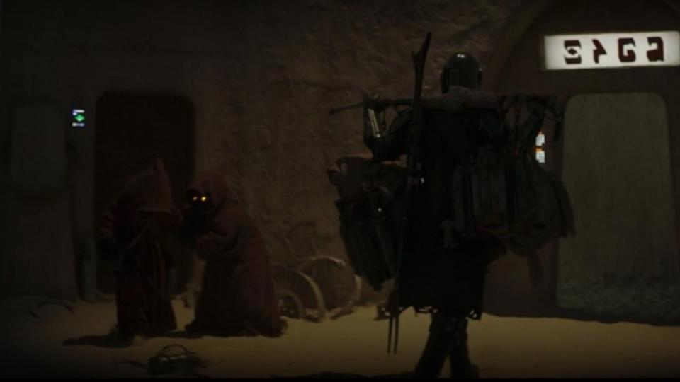 <p> <strong>Episode 2</strong> </p> <p> Surely everyone caught this one? The teeny-tiny hooded figures on Tatooine were seen hanging around outside Mos Eisley cantina (another Easter egg) early in the episode. </p>