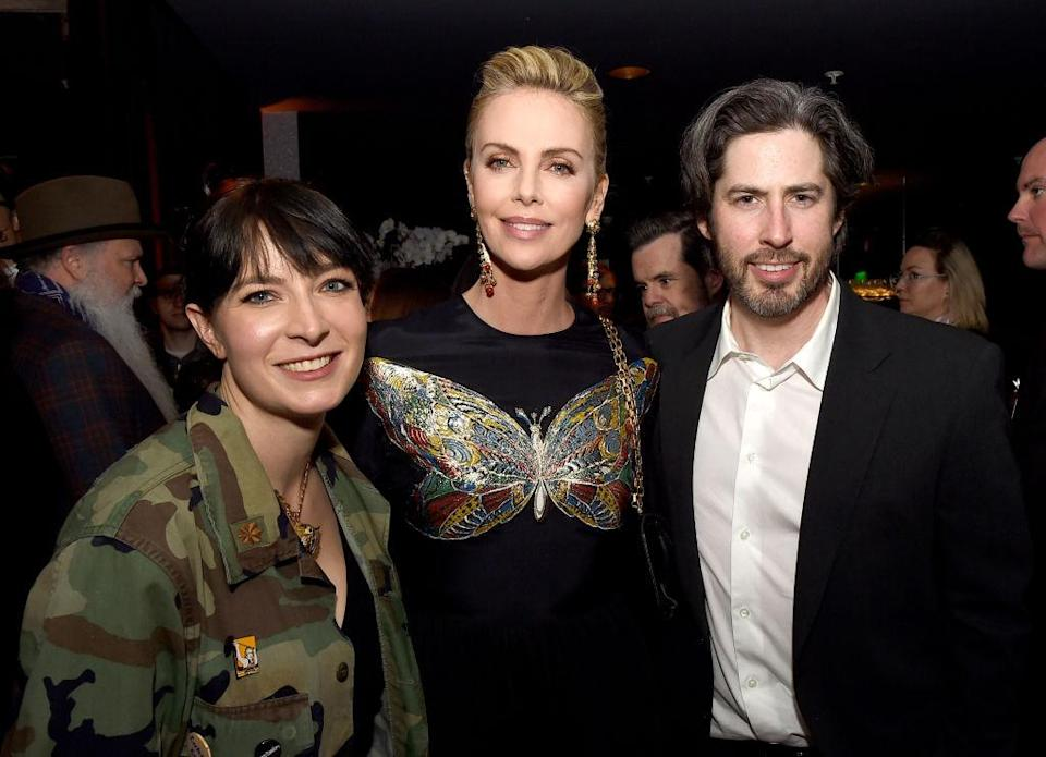 Diablo Cody with Charlize Theron and Reitman (Getty)y