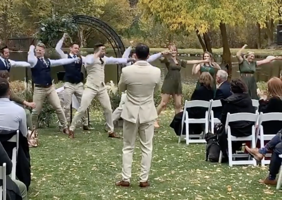 A Utah man's surprise wedding flash mob went viral on social media. (Screenshot: Instagram/brocktif89)