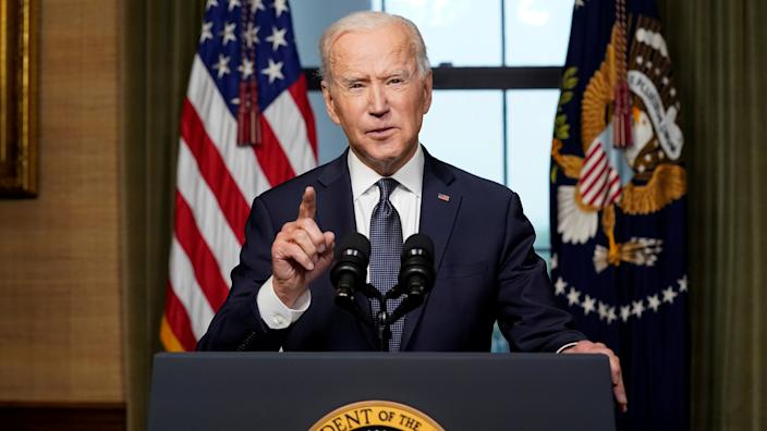 U.S. President Joe Biden delivers remarks on his plan to withdraw American troops from Afghanistan, at the White House, Washington, U.S., April 14, 2021. (Andrew Harnik/Pool via Reuters)