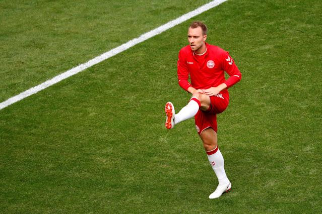 Soccer Football - World Cup - Group C - Denmark vs Australia - Samara Arena, Samara, Russia - June 21, 2018 Denmark's Christian Eriksen during the warm up before the match REUTERS/David Gray