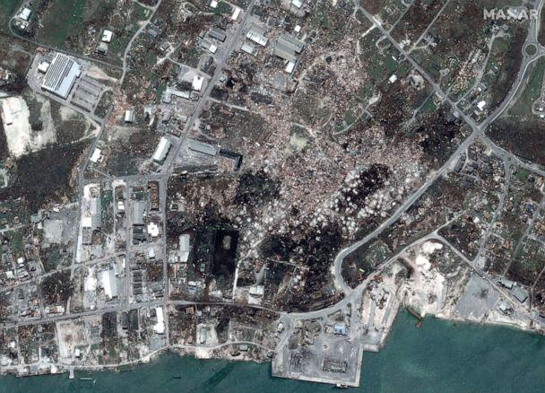 PHOTO: After Hurricane Dorian struck downtown Marsh Harbour on Great Abaco Island, Bahamas, in a satellite image taken Sept. 5, 2019. (Maxar Technologies via Reuters)