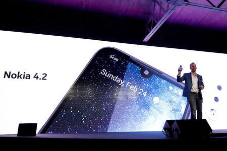 FILE PHOTO: HMD Global Product Officer Juho Sarvikas, presents the new Nokia 4.2 during the Mobile World Congress in Barcelona