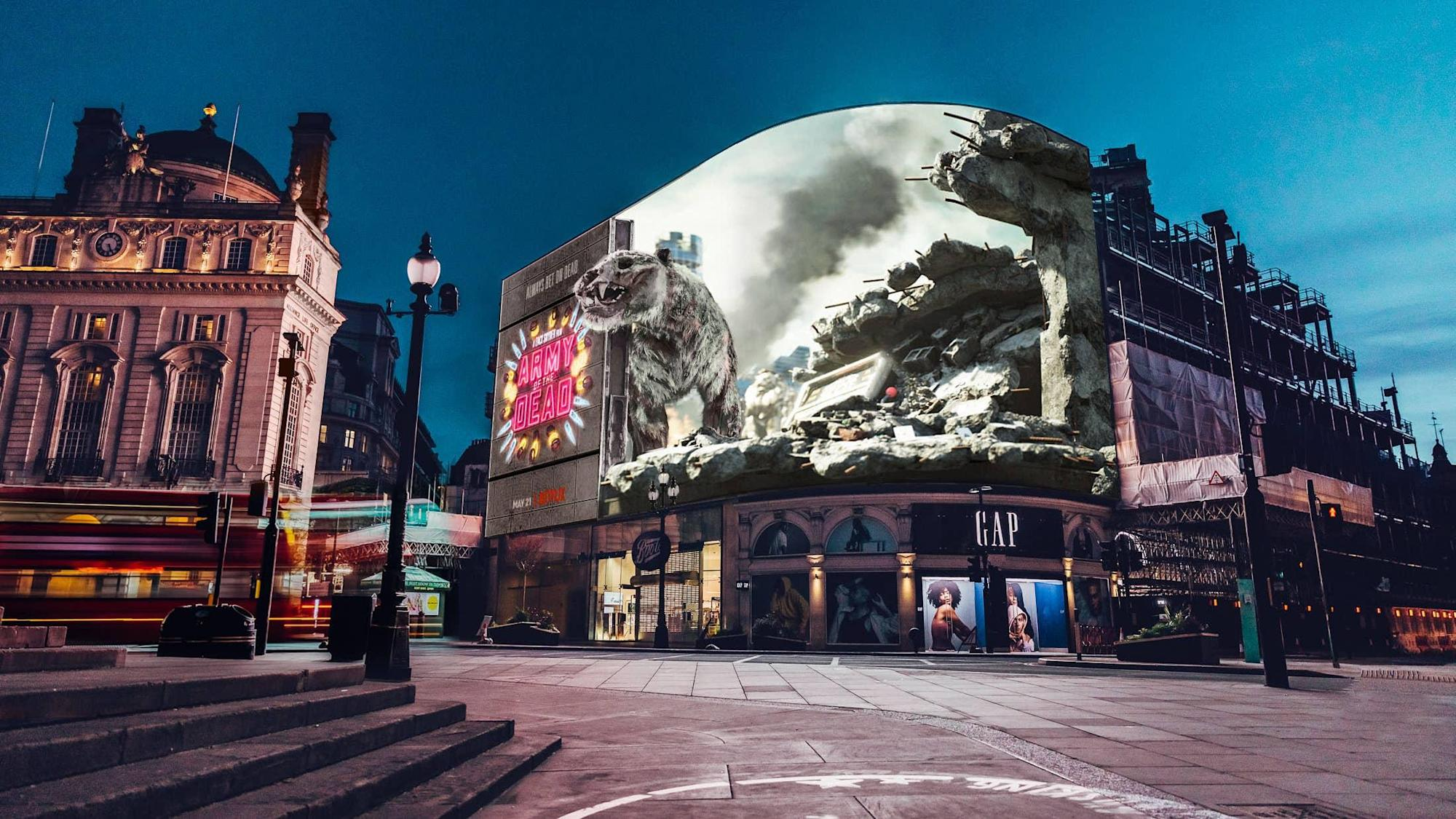 3D zombie tiger emerges from central London billboard