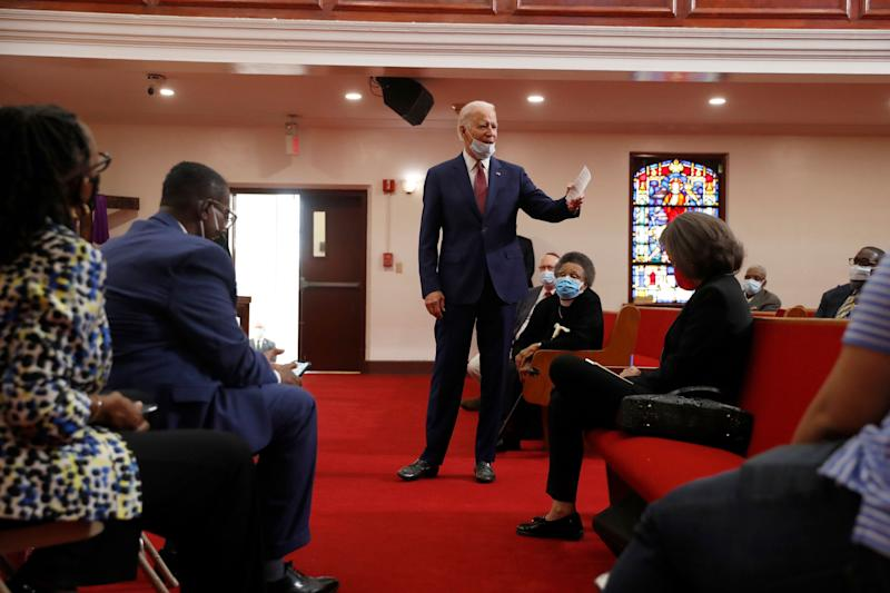 Former Vice President Joe Biden speaks to members of the clergy and community leaders at Bethel AME Church in Wilmington, Delaware, on June 1. (Photo: AP Photo/Andrew Harnik)
