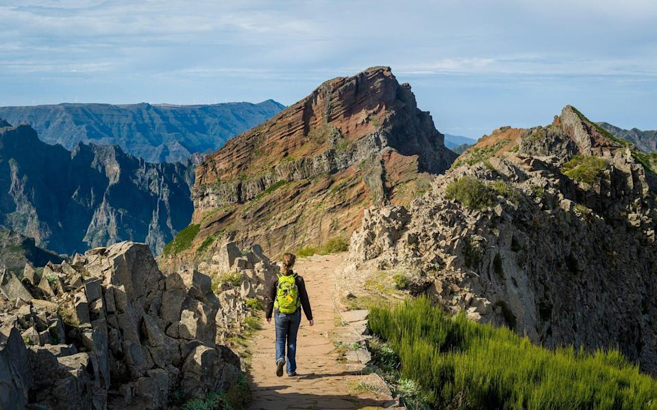 Woman hiker with green backpack doing hike in Madeira - AlexanderNikiforov/iStockphoto