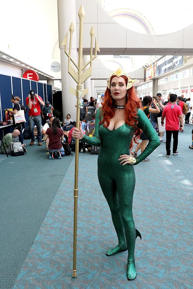 <p>Cosplayer dressed as Mera from <i>Aquaman</i> at Comic-Con International on July 21, 2018, in San Diego. (Photo: Angela Kim/Yahoo Entertainment) </p>
