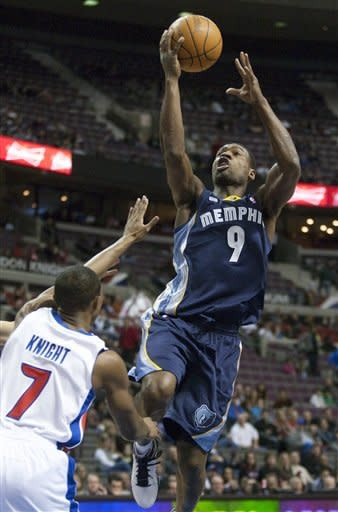 Memphis Grizzlies' Tony Allen (9) goes to the basket against Detroit Pistons' Brandon Knight (7) in the first quarter of an NBA basketball game Friday, Jan. 20, 2012, in Auburn Hills, Mich. (AP Photo/Duane Burleson)