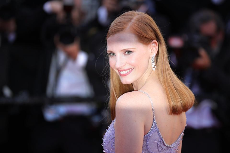 <p>Chastain had a deep side part at the Cannes Film Festival in 2017.</p>