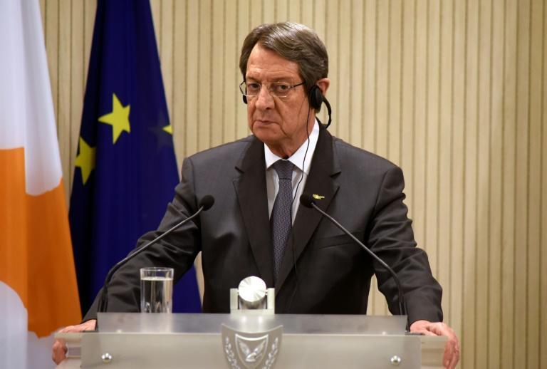 Cypriot President Nicos Anastasiades (pictured October 21, 2020) wll meet with Ankara-backed hardliner Ersin Tatar for the first time, but no major decisions are expected to come out of their get-together