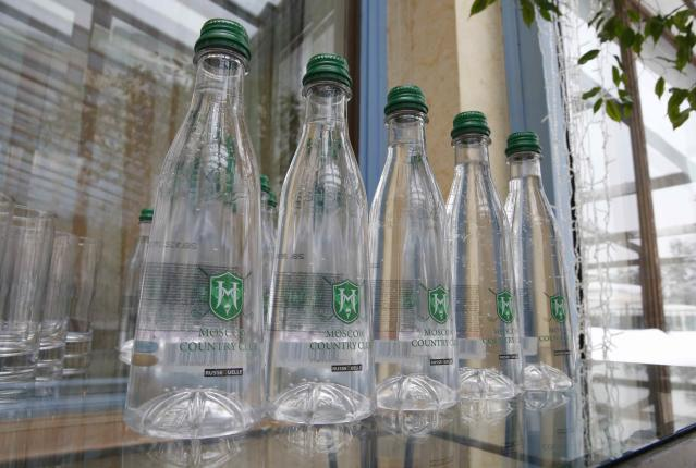 Water bottles with the hotel logo are pictured at the Moscow Country Club hotel and golf resort which was chosen to be the base for the Belgian national soccer team during the 2018 FIFA World Cup in the village of Nakhabino, outside Moscow, Russia February 10, 2018. REUTERS/Tatyana Makeyeva