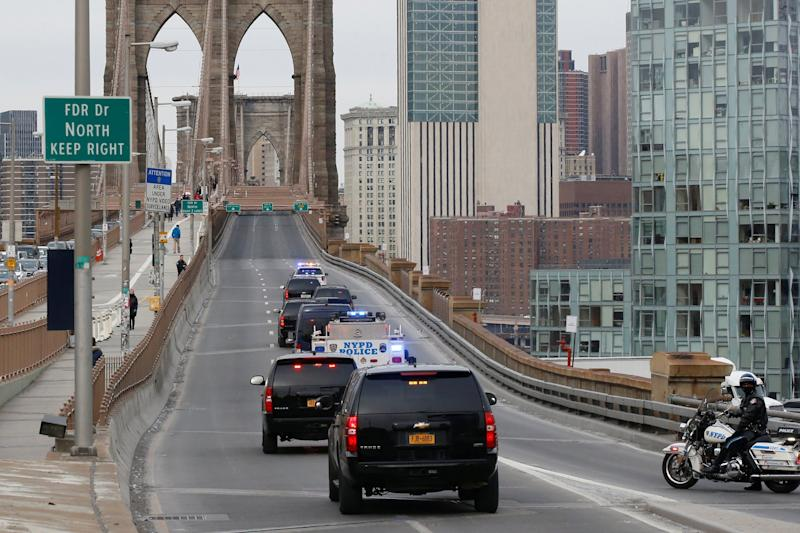 El Chapo Guzman police escort New York Brooklyn Bridge