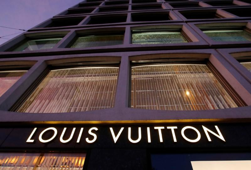 A Louis Vuitton logo is pictured in Geneva