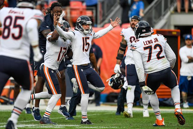 Eddy Pineiro celebrates after kicking a fourth quarter game-winning field goal against the Denver Broncos at Empower Field at Mile High on September 15. (Getty Images)