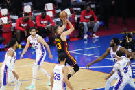 Atlanta Hawks' Bogdan Bogdanovic (13) goes up for a shot during the first half of Game 7 in a second-round NBA basketball playoff series against the Philadelphia 76ers, Sunday, June 20, 2021, in Philadelphia. (AP Photo/Matt Slocum)
