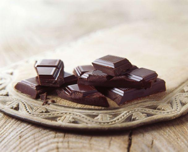 PHOTO: Dark chocolate is pictured broken on vintage wooden board in this undated stock photo. (STOCK PHOTO/Getty Images)
