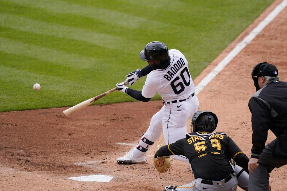 Detroit Tigers' Akil Baddoo connects for a run scoring triple during the second inning of a baseball game against the Pittsburgh Pirates, Thursday, April 22, 2021, in Detroit.