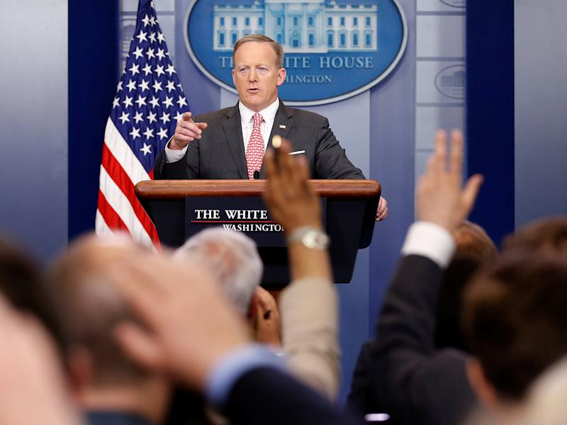 Sean Spicer faced questioning over whether the President will ever release his tax returns: REUTERS
