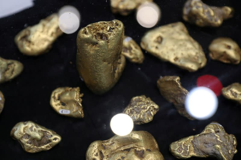 FILE PHOTO: Gold nuggets are displayed at the PDAC annual conference in Toronto
