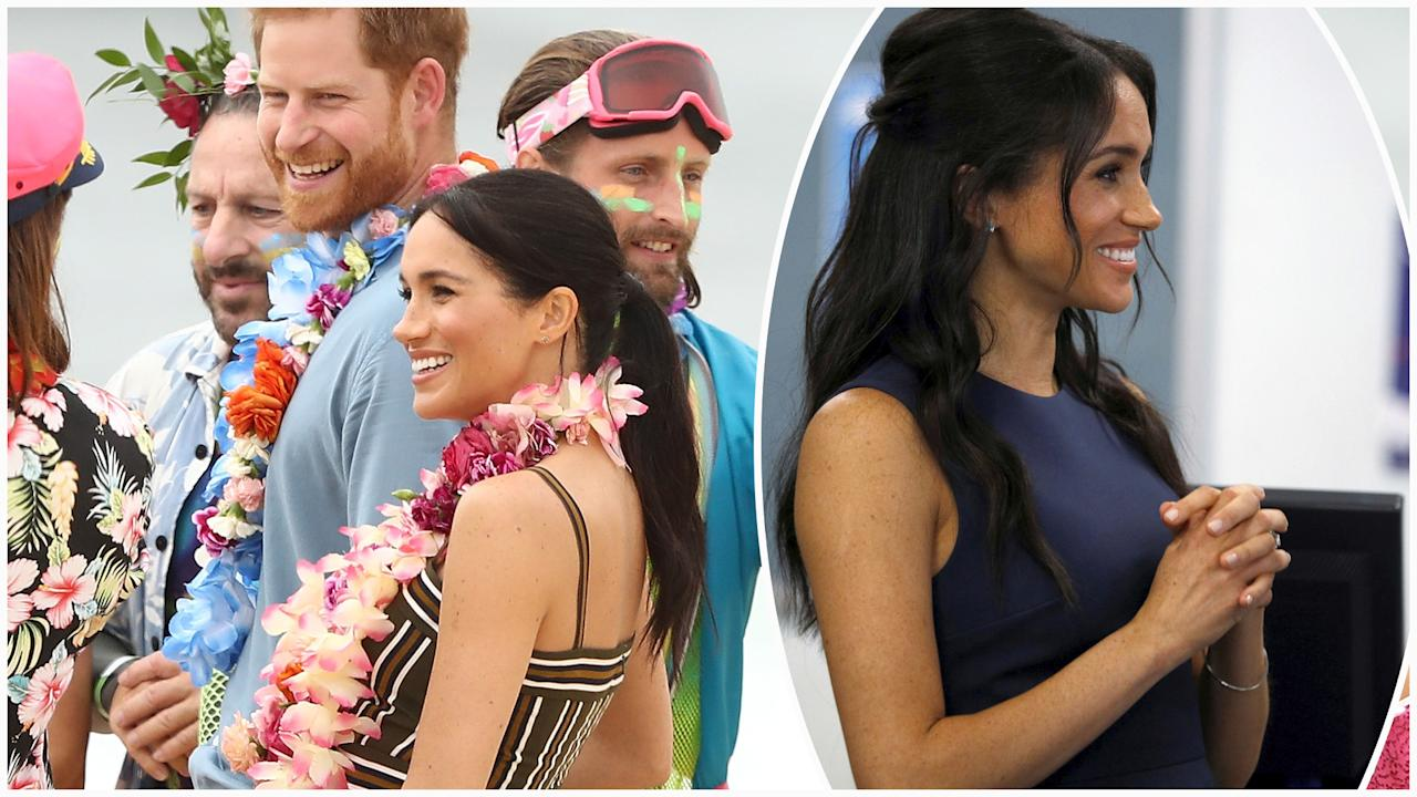 """<p>The Duchess of Sussex changed twice on the <a rel=""""nofollow"""" href=""""https://au.lifestyle.yahoo.com/prince-harry-meghan-cut-casual-figure-bondi-beach-214112507.html"""">fourth day of her and husband Prince Harry's tour of Australia, New Zealand, Tonga and Fiji.</a> Photo: Getty </p>"""