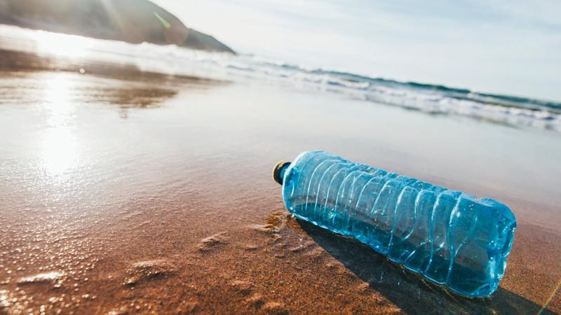 A single discarded plastic water bottle on a sandy beach