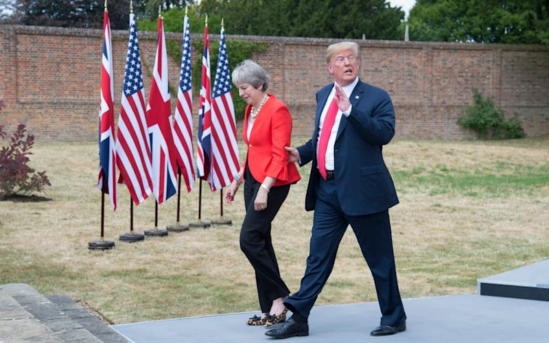 Theresa May and Donald Trump at Chequers during his visit to Britain in 2018 - PAUL GROVER