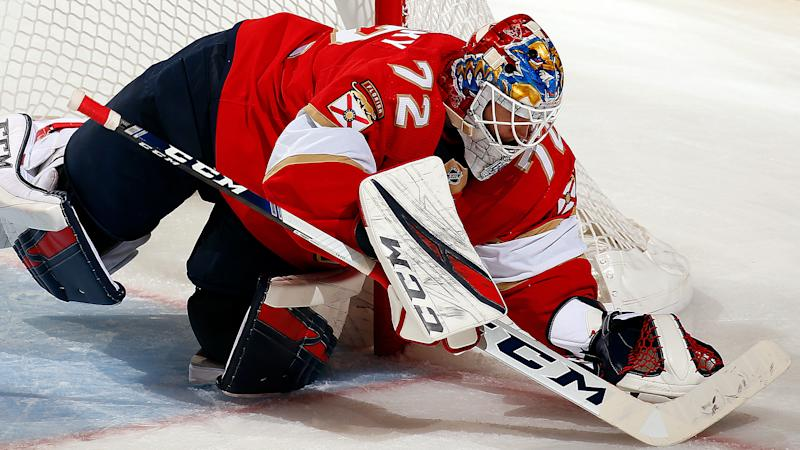SUNRISE, FL - NOVEMBER. 2: Goaltender Sergei Bobrovsky #72 of the Florida Panthers defends the net against the Detroit Red Wings at the BB&T Center on November 2, 2019 in Sunrise, Florida. (Photo by Eliot J. Schechter/NHLI via Getty Images)
