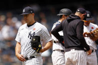 New York Yankees starting pitcher Jameson Taillon reacts as he is taken out of the game during the sixth inning of a baseball game against the Tampa Bay Rays on Monday, May 31, 2021, in New York. (AP Photo/Adam Hunger)