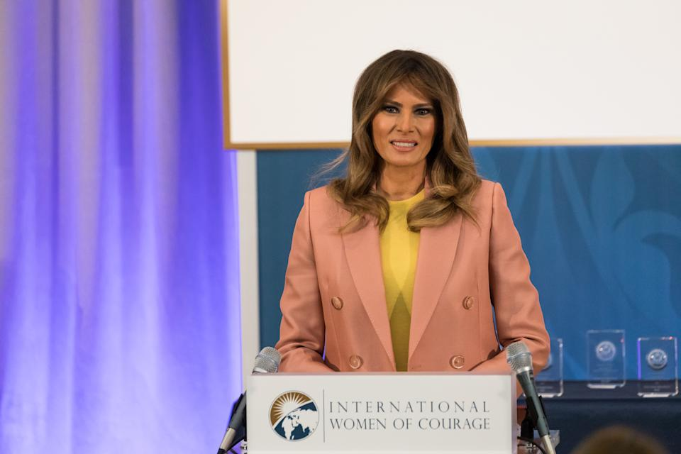 U.S. First Lady Melania Trump gives remarks at the annual International Women of Courage (IWOC) Awards honoring 10 extraordinary women from around the world. At the U.S. Dept. of State, on Friday, March 23, 2018. (Photo by Cheriss May)