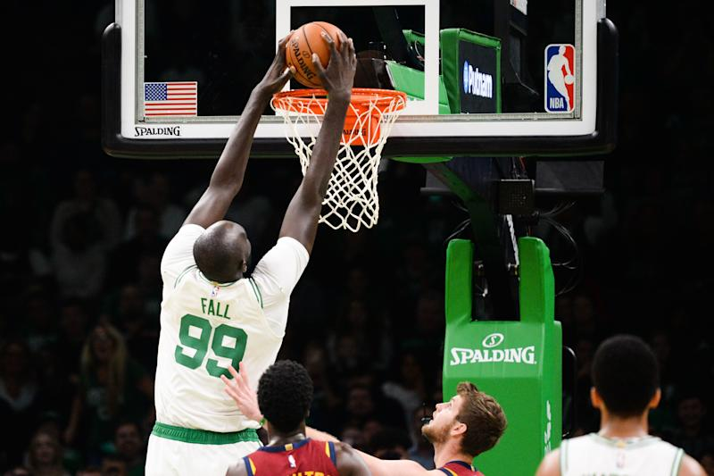BOSTON, MA - OCTOBER 13: Tacko Fall #99 of the Boston Celtics dunks the ball against the Cleveland Cavaliers in the fourth quarter at TD Garden on October 13, 2019 in Boston, Massachusetts. NOTE TO USER: User expressly acknowledges and agrees that, by downloading and or using this photograph, User is consenting to the terms and conditions of the Getty Images License Agreement. (Photo by Kathryn Riley/Getty Images)